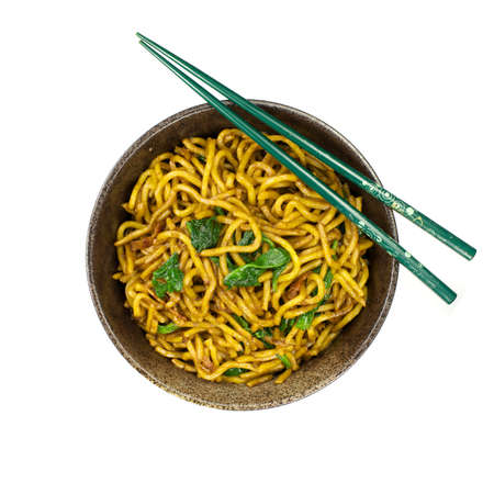 chinese spinach: Stir-fried noodle with bacon and spinach