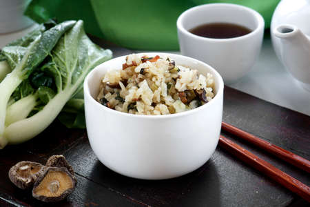 food photography: A bowl of delicious Shanghai Bok Choy rice