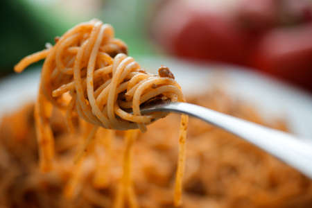 Closeup of fresh and delicious spaghetti bolognese photo