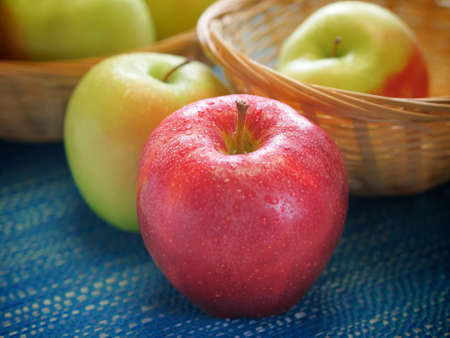 Very closeup view of organic fresh apples Stock Photo - 19250853