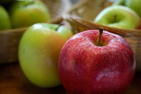 Extreme closeup view of organic fresh apples