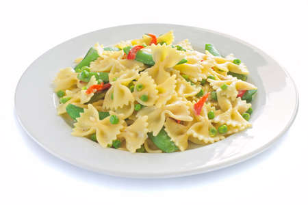 Closeup of a dish of bow-tie pasta photo