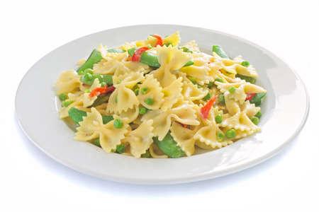 Closeup of a dish of bow-tie pasta Banque d'images