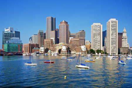 화창한 날에 보스턴의 스카이 라인 스톡 콘텐츠