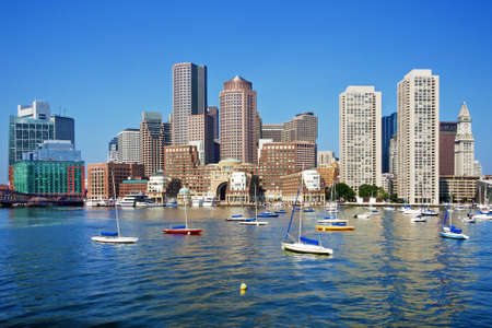 ports: Boston Skyline on a Sunny Day
