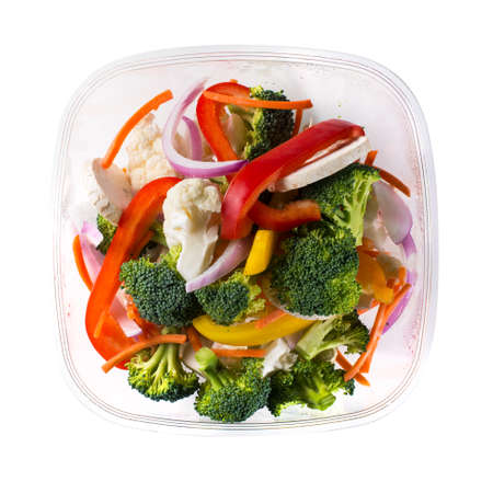 Overview of packaged vegetable salad