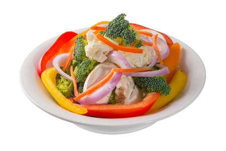 Closeup view of a bowl of vegetable salad