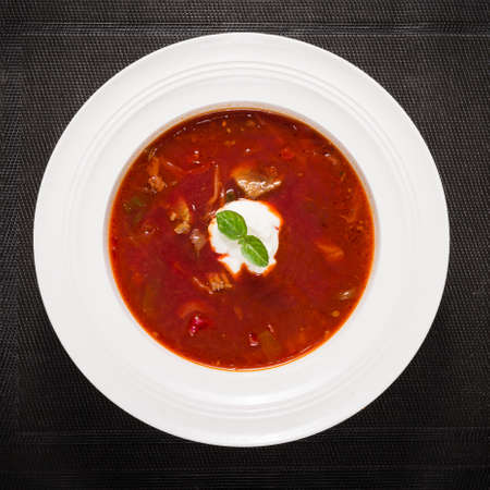 Closeup view of borscht soup
