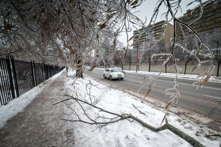 TORONTO - DECEMBER 22: Traffic moves in icy condition after the icestorm hits Toronto on December 22, 2013. Editorial