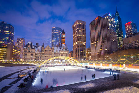 rink: Nathan Phillips Square in Toronto, Canada Stock Photo