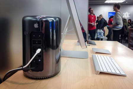 TORONTO - DECEMBER 29: The new Mac Pro sits at the Apple Store in Toronto, Canada on December 29, 2013. Editorial