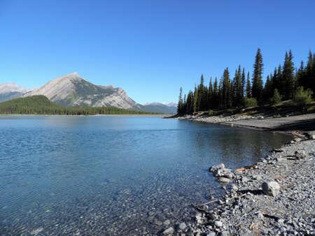 alberta: Mountainous landscape surrounding Kananaskis Lake, Alberta, Canada.