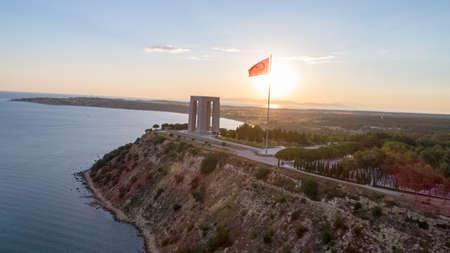 La vue aérienne du Mémorial des martyrs de Canakkale dans la péninsule de Gallipoli