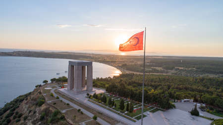 The aerial view of Canakkale Martyrs Memorial in Gallipoli Peninsula