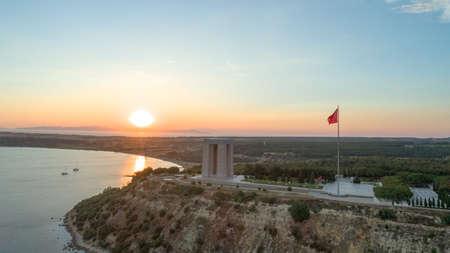 La vue aérienne du Mémorial des martyrs de Canakkale dans la péninsule de Gallipoli Banque d'images