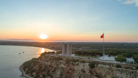 The aerial view of Canakkale Martyrs' Memorial in Gallipoli Peninsula Stock Photo