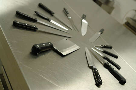sharpen: Set of professional kitchen knives Stock Photo