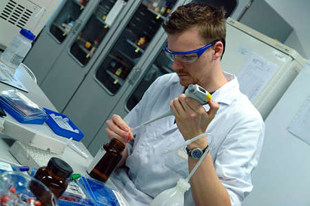 Scientist professor experimenting                                Stock Photo