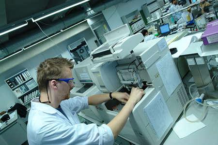 Scientist professor experimenting Stock Photo