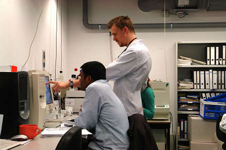 Professor teaching in the laboratory