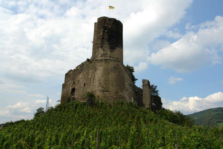german castle ruin located high above the mosel river near bernkastel-kues germany.