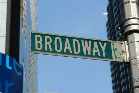 broadway street sign in nyc theater district
