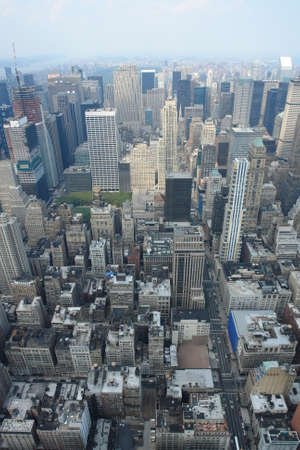 View from Empire state building into the streets of Manhattan