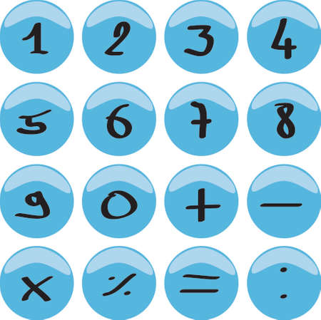 web 2 0: Web button with numbers 0 to 9 and the mathematical signs