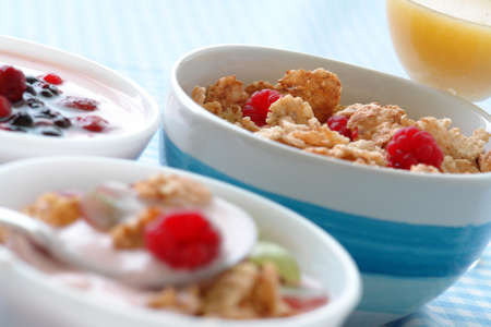 Bowl of yogurt, fruit, granola, cereals making a healthy breakfast