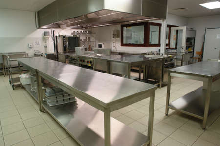 institutional: overview of a professional kitchen with all the materials