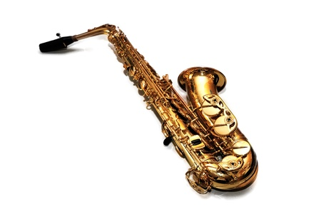 Saxophone on white background photo