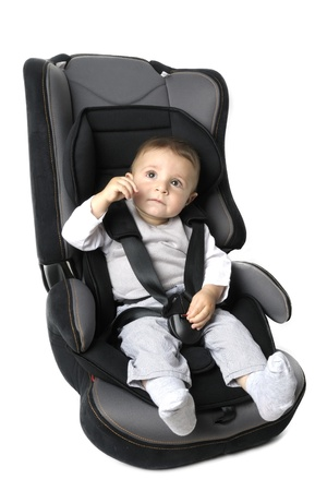 car protection: Little child on vehicle car safety