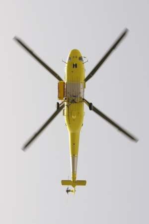 drain fly: Helicopter fire fighting, seen from below Stock Photo