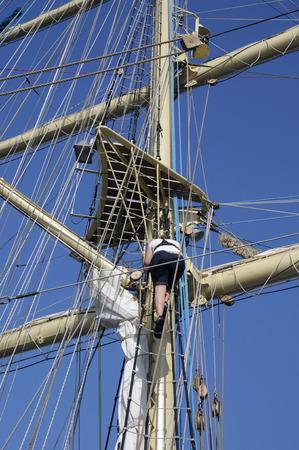 reparations: Masts and rigging of a sailing ship