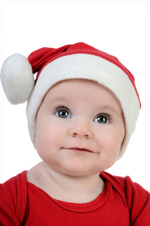 cur: Little girl celebrating the day of Santa Claus Stock Photo