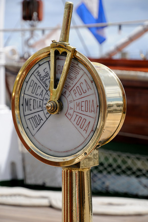astern: Instrument on the bridge of an old boat in communication with the engine room Stock Photo