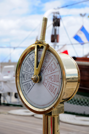 engine room: Instrument on the bridge of an old boat in communication with the engine room Stock Photo