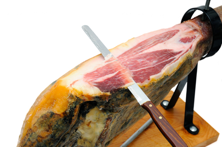 イベリコ生ハム、典型的なスペインのハム 写真素材