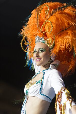 santa cruz de tenerife: TENERIFE, JANUARY 30: Group in The carnival the Santa Cruz de Tenerife, during different contests of Carnival groups. JANUARY 30, 2016, Tenerife (Canary Islands) Spain. Editorial