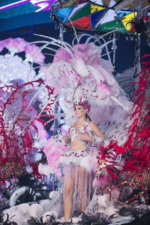 TENERIFE, 3 febbraio: costumi spettacolari indossati dai candidati regina nel grande Gala. 3 FEBBRAIO 2016, Tenerife (Isole Canarie) Spagna