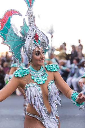 santa cruz de tenerife: TENERIFE, FEBRUARY 9: Gruup in The Carnival in Santa Cruz de Tenerife, during different contests of Carnival groups. FEBRUARY 9, 2016, Tenerife (Canary Islands) Spain. Editorial