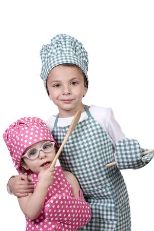 vivacious: Small children, wearing chefs outfit and hat