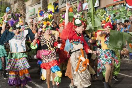 TENERIFE, 25 DE FEVEREIRO: grupos de carnaval e personagens disfarçados, desfile pelas ruas da cidade. 25 DE FEVEREIRO, Tenerife (Ilhas Canárias), Espanha. Foto de archivo - 72817190