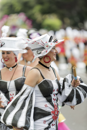 pace: TENERIFE, FEBRUARY 28: Groups in the Carnival the Santa Cruz de Tenerife during different contests and grand parade of carnival groups FEBRUARY 28, 2017 Tenerife (Canary Islands) Spain