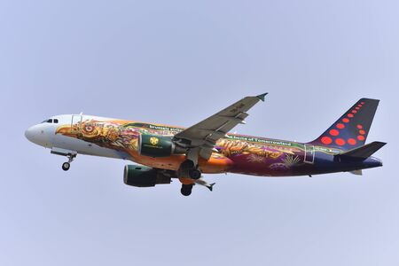 TENERIFE, SPAIN-JULY 17, 2017: Aircraft-Airbus A320-214 of Brussels Airlines Taking off from Tenerife South Airport on July 17, 2017 Editorial