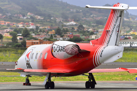 TENERIFE, SPAIN JULY 19, 2017: Air Ambulance FAI, Bombardier Learjet 55 in Tenerife North Airport. July 19, 2017