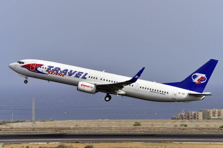 TENERIFE, SPAIN-JULY 17, 2017: Aircraft-Boeing 737-9GJER of Travel Service Taking off from Tenerife South Airport on July 17, 2017