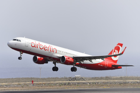 TENERIFE, SPAIN-JULY 17, 2017: Aircraft-Airbus A321-211 of Air Berlin (Belair Airlines) Taking off from Tenerife South Airport on July 17, 2017