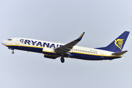 commander: TENERIFE, SPAIN-JULY 17, 2017: Plane - Boeing 737-8AS of Ryanair taking off off the airport of Tenerife South on July 17, 2017