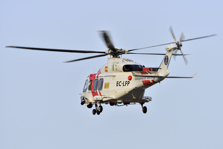 TENERIFE, SPAIN-JULY 17, 2017: Helicopter sea rescue, Augusta-Westland AW-139 in airport of Tenerife South on July 17, 2017